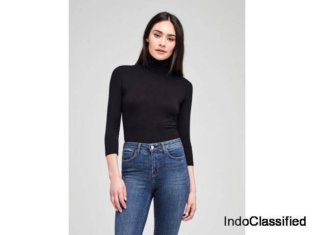 Black Long Sleeve Bodysuit for Women - L'AGENCE