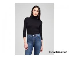 Black Long Sleeve Bodysuit for Women - L'AGENCE