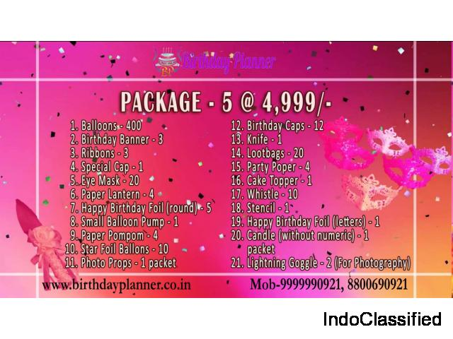 Birthday Party Supplies Package In Delhi, Lowest Price Guaranteed