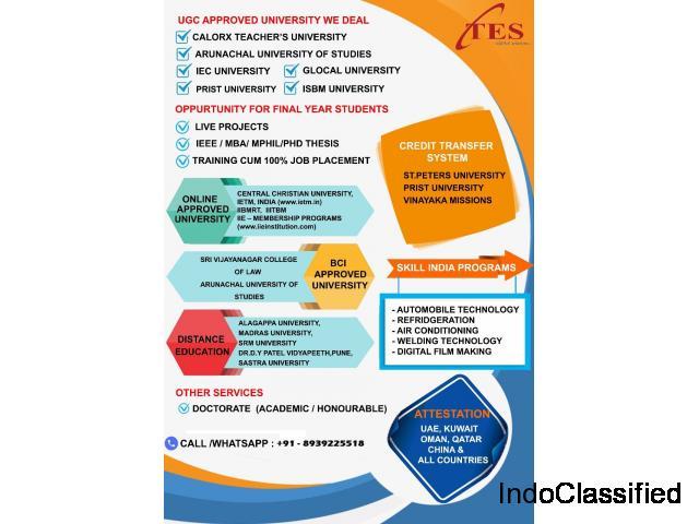 Get Genuine UG/PG/Engineering/Law/Teaching/Diploma in short time
