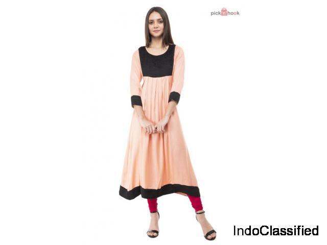 Ushmaa Peach kurti with Contrast Pleated Yoke for Women