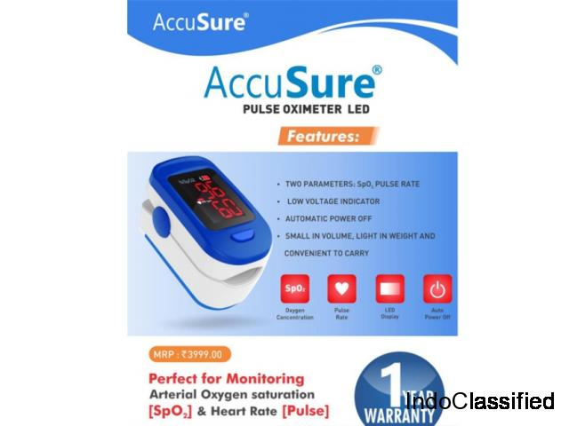 AccuSure Finger Tip Pulse Oximeter with LED Display and Auto Power Off
