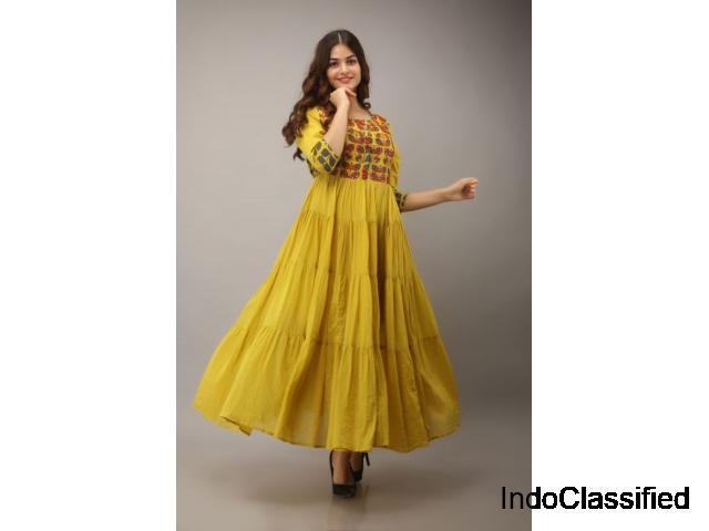 Buy long designer kurtis online for women and girls at best prices