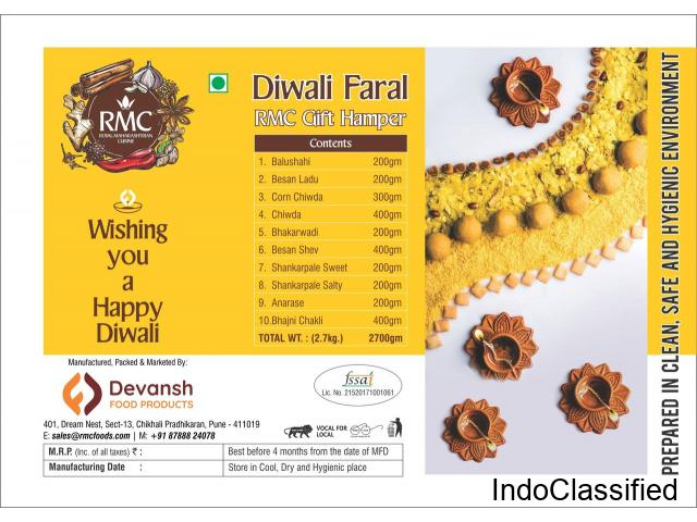 Diwali faral gift hampers and dry fruits snakes
