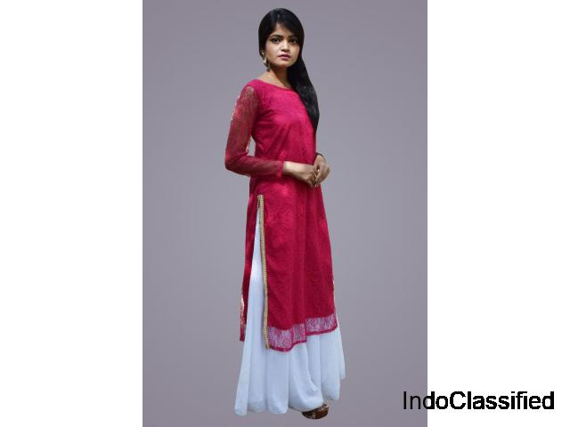 Shop Lacy Kurti with High Side Slit Online for Women
