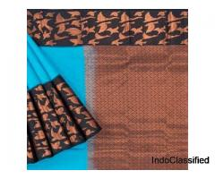 Kanchipuram Silk Brocade Blue Saree-Brand Mandir