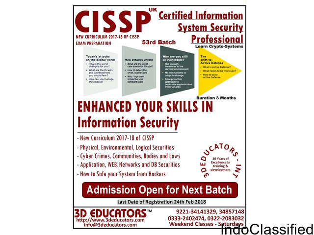 CERTIFIED INFORMATION SYSTEM SECURITY PROFESSIONAL TRAINING VIA LIVE / ONLINE