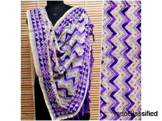 Hand Embroidered Phulkari Dupatta - SSEthnics
