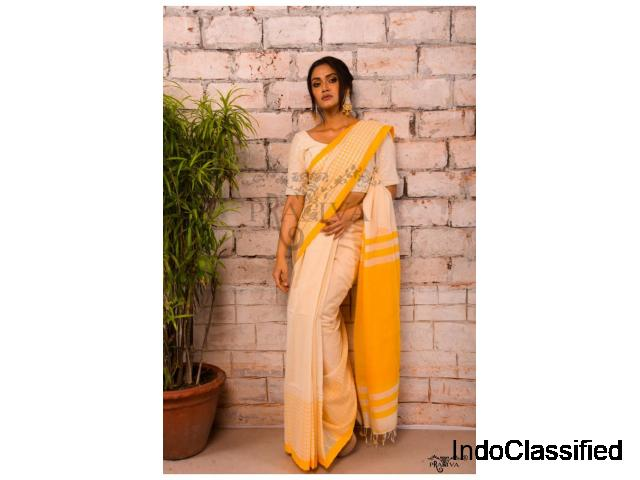 Handwoven Pure Khadi Sarees Online at a discounted price