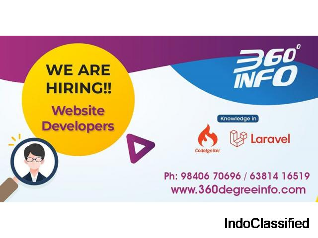 We are hiring for a Web/PHP (laravel or Codeigniter) developer