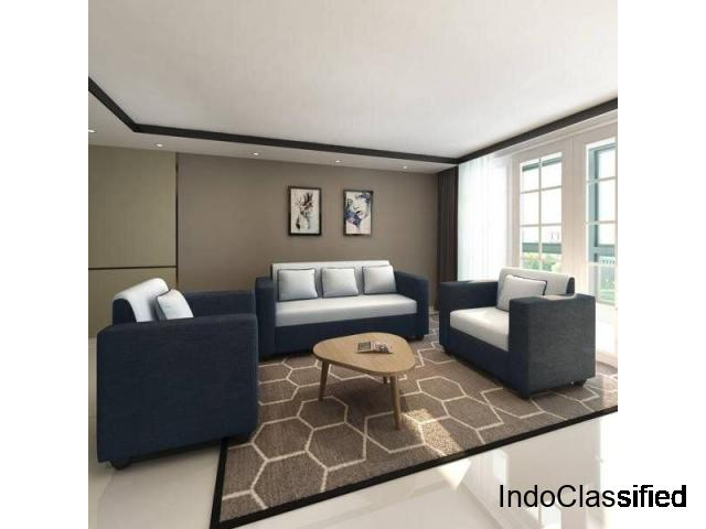Bharat Lifestyle Tulip Fabric 3+1+1 Sofa Set Black Grey