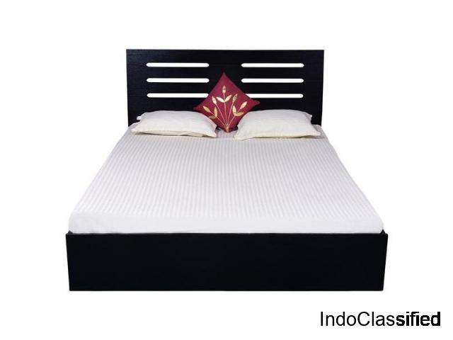 Bharat Lifestyle Vienna Engineered Wood Queen Bed (Finish Color - Black)