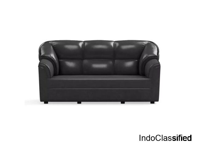 Bharat Lifestyle Riyan Leatherette 3 Seater Sofa (Color-Brown)