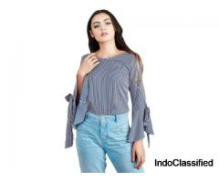 Shop Casual Bell Sleeve Solid Blue Top at Flipkart