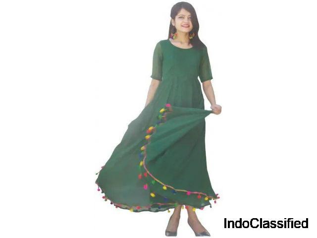 Shop Bottle Green Lashkara Anarkali Kurti at Paytm Mall