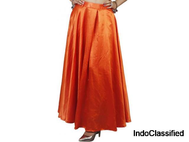 Shop Solid Regular Orange Skirt at Flipkart