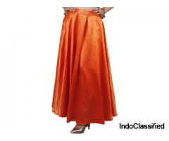 Shop Solid Regular Orange Skirt at Flipkart