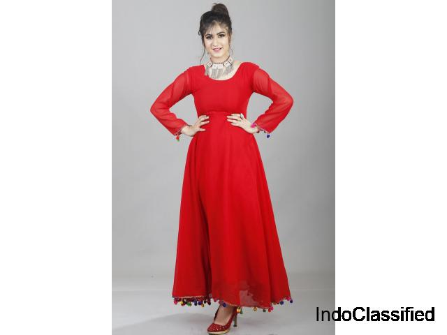 Shop Red Lashkara Anarkali Dress for Women