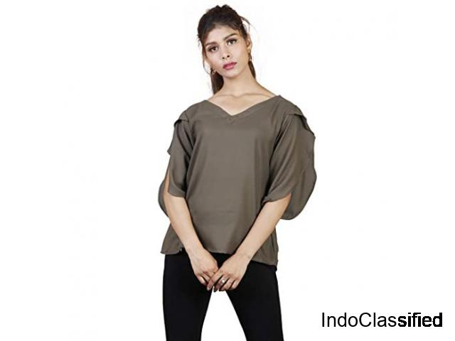 Shop Sleeves Olive Green Top for Women