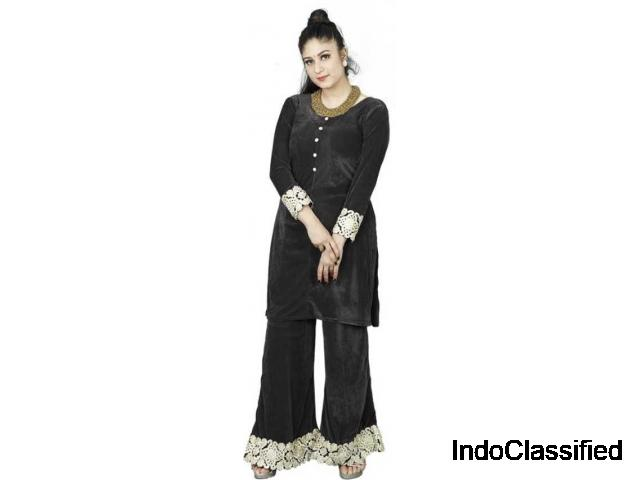 Shop Women Velvet Kurta and Palazzo Set