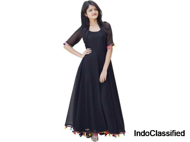 Buy Black Georgette Anarkali Kurta for Women online