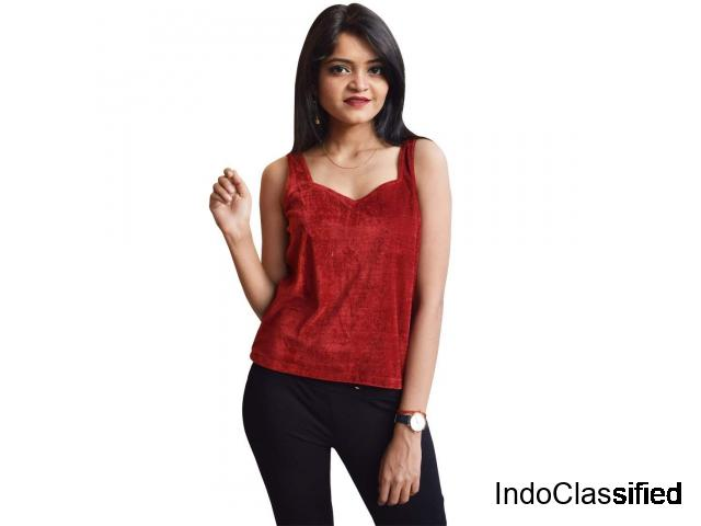 Buy Women Maroon Velvet Crop Top