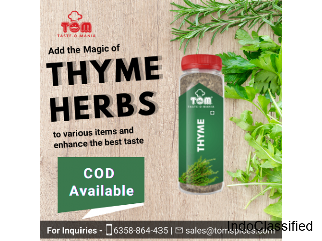 Thyme Spices and Thyme Masala Suppliers in Hyderabad - Taste-O-Mania