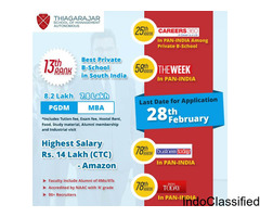 Thiagarajar School of Management, Admissions  PGDM/MBA