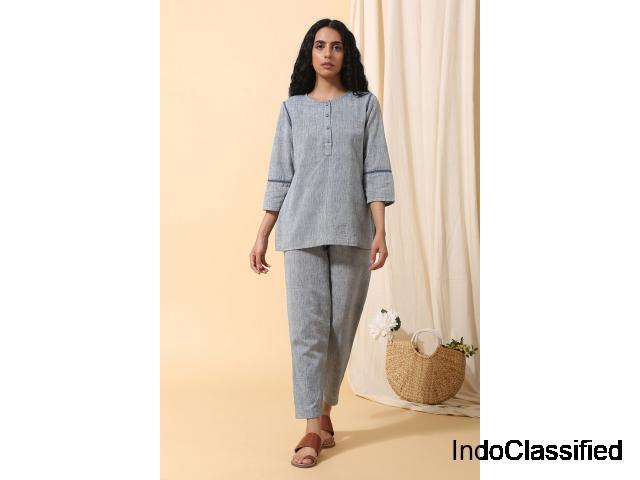 Malkha Cotton Top (Light Indigo) | Bhailionline.com