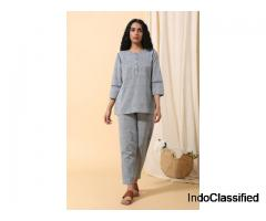 Malkha Cotton Top (Light Indigo) | Bhailionline.com