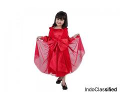 Shop Girls Net and Stain Red Bow Love Frock