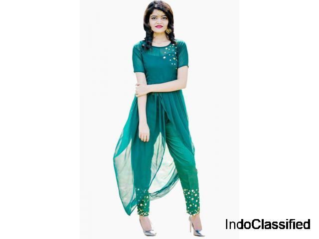 Buy Women Green Solid Straight Kurta