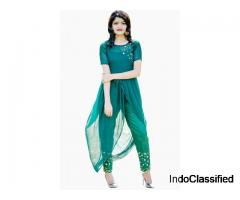 Buy Women Green Solid Straight Kurta