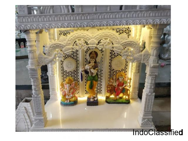 Buy Carved Marble Golden & Meenakari Temples