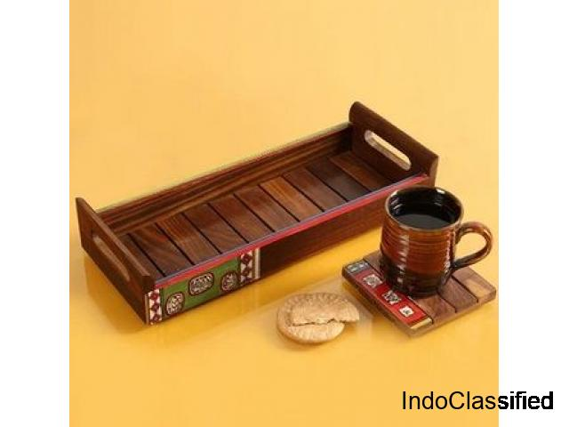 Buy Wooden Serving Tray Online in India - 1