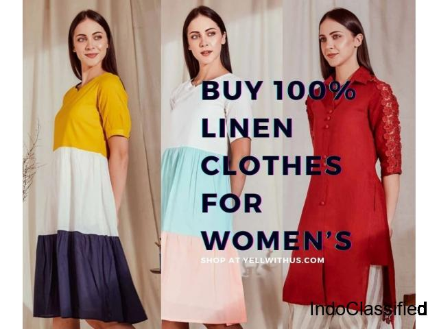 Buy Women's Linen clothing online at Yellwithus