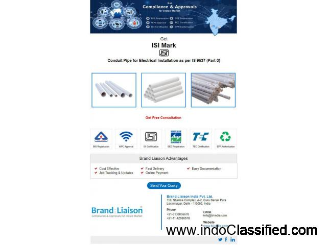 ISI Mark Certification Consultant Service for Electrical PVC Conduits Pipe - 1