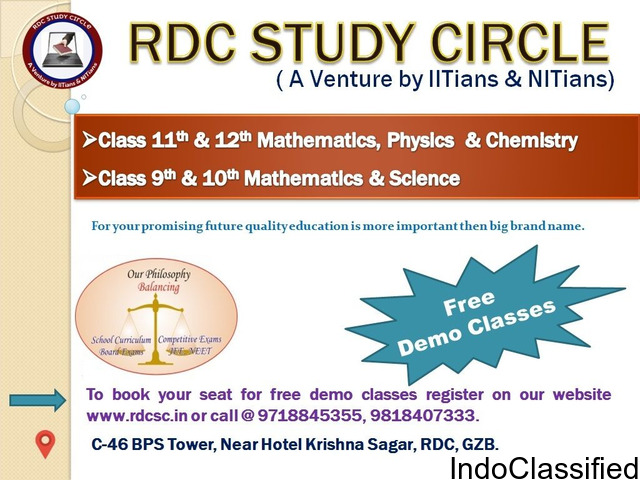 Mathematics, Physics and Chemistry classes for 9th to 12th class students